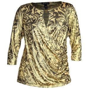 INC Metallic Gold Print 3/4 Sleeve Surplice Top